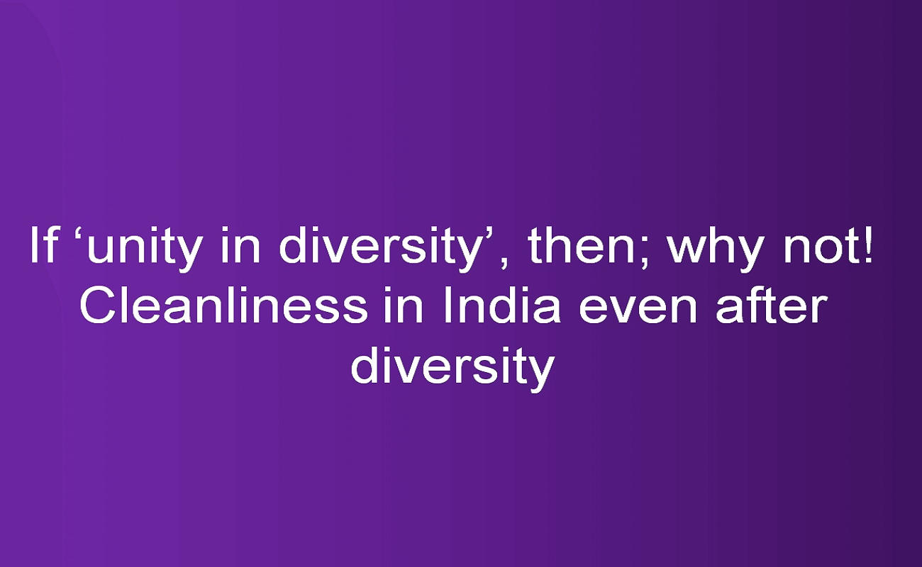 If unity in diversity, then; why not! Cleanliness in India even after diversity