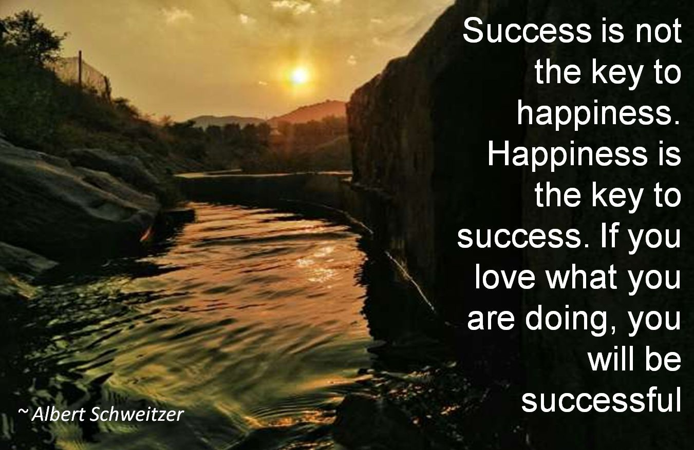 Albert Schweitzer- Success is not the key to happiness. Happiness is the key to success. If you love what you are doing, you will be successful