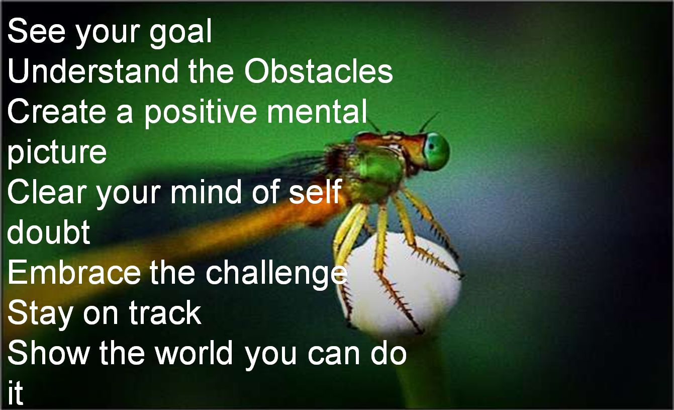 Anonymous- See your goal Understand the Obstacles Create a positive mental picture Clear your mind of self doubt Embrace the challenge Stay on track Show the world you can do it