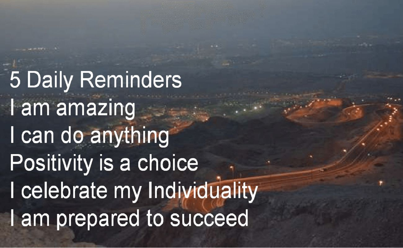 Anonymous- 5 Daily Reminders I am amazing I can do anything Positivity is a choice I celebrate my Individuality I am prepared to succeed