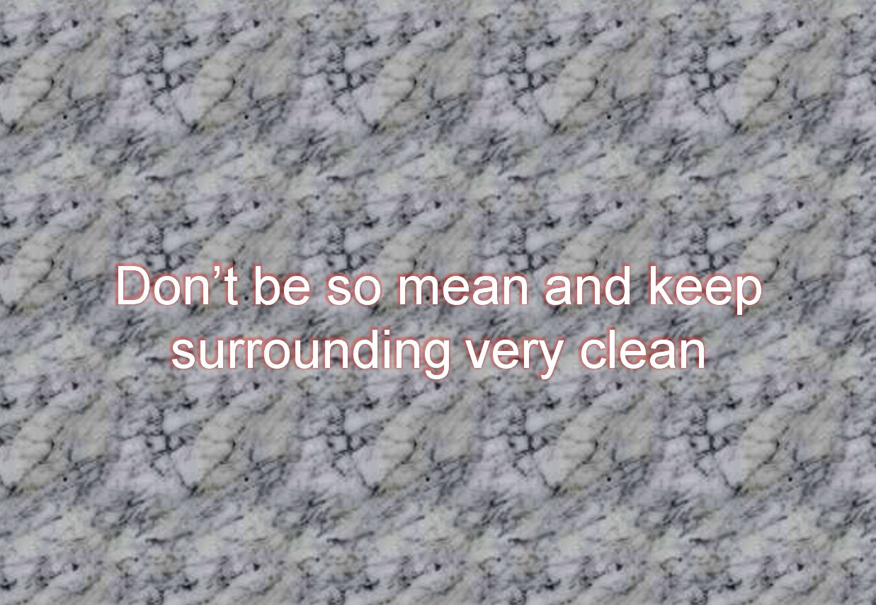 Dont be so mean and keep surrounding very clean