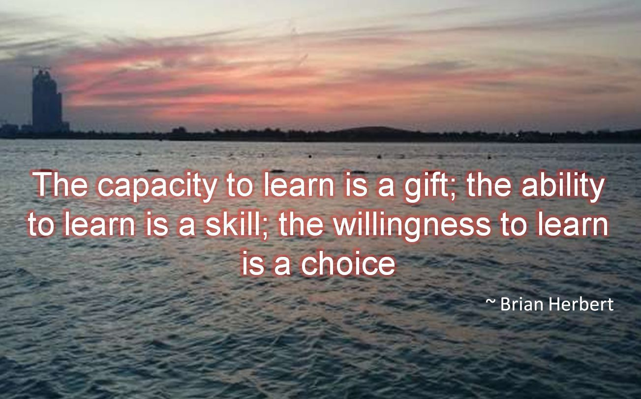 Brian Herbert- The capacity to learn is a gift; the ability to learn is a skill; the willingness to learn is a choiceThe capacity to learn is a gift; the ability to learn is a skill; the willingness t