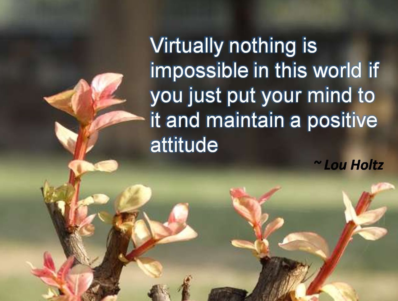 Lou Holtz- Virtually nothing is impossible in this world if you just put your mind to it and maintain a positive attitude