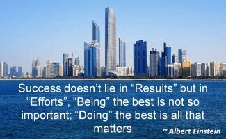 Albert Einstein- Success doesnt lie in Results but in Efforts, Being the best is not so important; Doing the best is all that matters