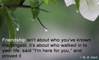 N. R. Hart- Friendship isn't about who you've known the longest, it's about who walked in to your life, said